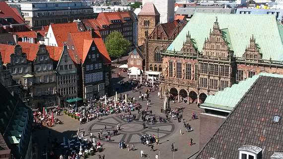 Marketplace of Bremen from above - BTZ Bremer Touristik-Zentrale